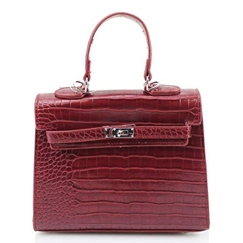 LeahWard Der Mock Croc Tote Damengreifer Designer Schulter Handtaschen Geschenk J60 (Rot) -