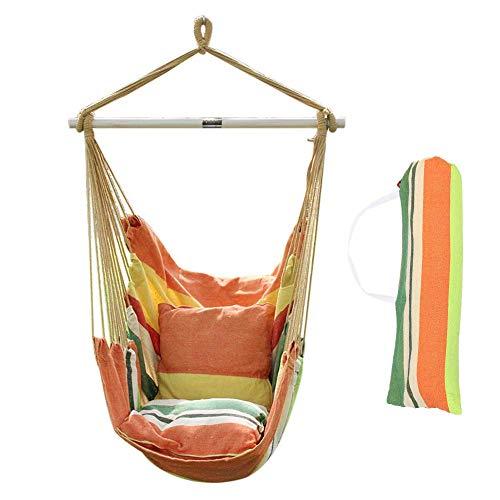 ANPI Hängematte Stuhl Seil Hängen Schaukel, Garten Hängende Seil Hängematte Stuhl Veranda Swing Sitz mit Zwei Kissen für Drinnen Draußen Yard Veranda Patio, Sommerwind - Wohnzimmer Mit Zwei Sitz-stuhl