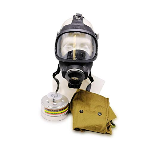 (OldShop Gasmaske MSA Auer Set - Bundeswehr Gasmaske Replica Sammlerartikel Set mit Maske & Filter - Schwarz)