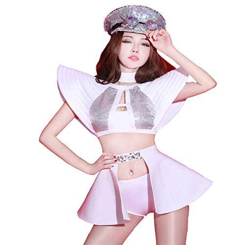 Frauen Atmosphärische sexy dj Jazz Dance kostüm Strass Trikot Reißverschluss Erwachsene Cosplay Kostüme(Kragen + Oberteile + Shorts + Rock (ohne - Jazz Dance Show Kostüm