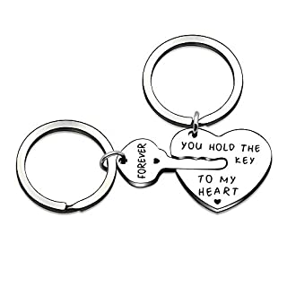 Couple Valentine Key Ring Set Love Heart Key Locks Family Gift 2pcs - You Hold The Key to My Heart Forever