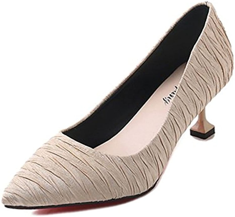 DIMAOL Damenschuhe Synthetische Microfaser PU Feder Komfort Heels Stiletto Heel Schuhe für Casual Grau Beige Schwarz