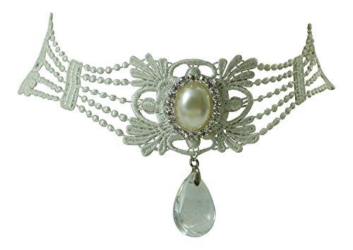 Traumhaftes Dirndl Kropfband Collier - weiße Spitze mit Kristall und Perle - Eleganter Trachtenschmuck