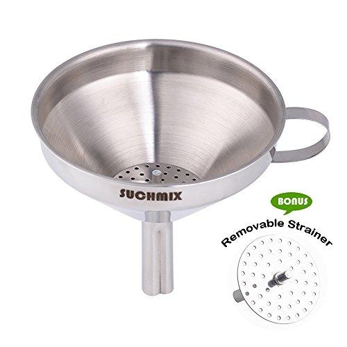 suchmix Metal embudo para cocinar aceites, 12,7cm acero inoxidable cocina embudo con filtro colador desmontable para la transferencia de líquido, líquido, seco ingredientes y polvo, color plateado