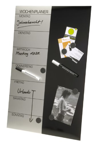 Genie Wochenplaner Schreibtafel (Magnet, Abwischbar, Inkl. Stifte, Magnete und Wandbefestigung, 57 x 37 cm)
