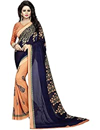 Traditional Fashion Women's Georgette Saree With Blouse Piece (Tfs1324_Navy Blue & Orange)