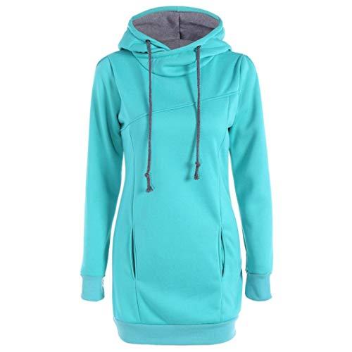 MORCHANFemme Automne Hiver Manteau Veste à Capuche Hoodie Shirt Casual Jumper Sport Hauts Tops Pullover Blouse Blouson Sport Sweat Sweatshirt (FR-44/CN-M,Bleu Ciel)