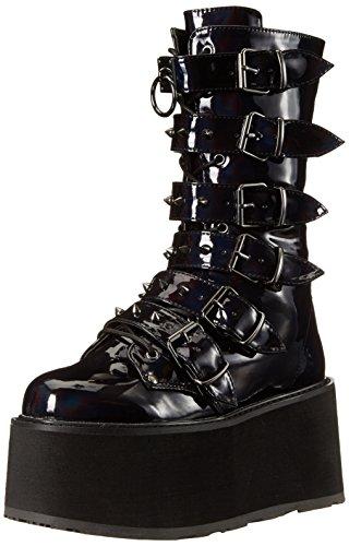 Damned-225 Plateau-Stiefel mit Schnallen und Nieten schwarz Hologramm - (39 EU = US 9) - Demonia -