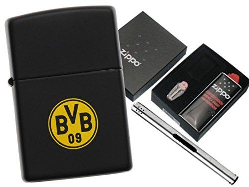Zippo BVB 09 Black Matte mit Zippo Geschenkset und L.B Chrome Stabfeuerzeug (Black Chrome Zippo)