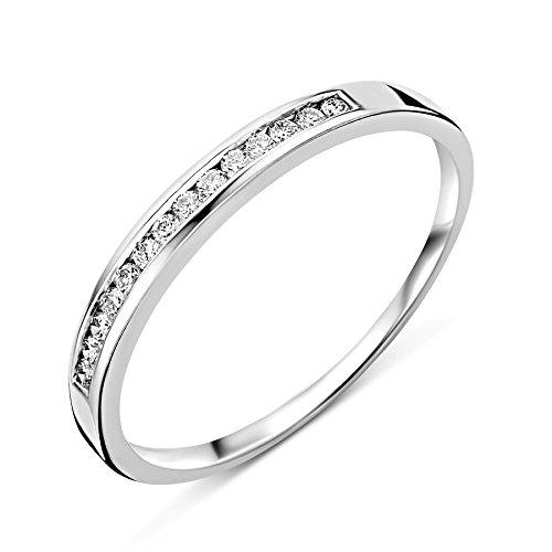 Miore Ring Damen Ewigkeitsring  Weißgold 18 Karat / 750 Gold  Diamant Brillianten 0.10 ct