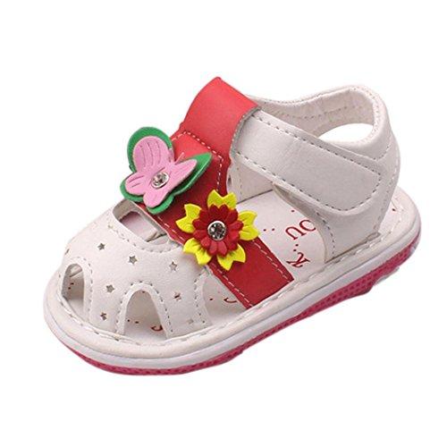 Ballerina-schuhe Für Baby-mädchen (Schuhe Baby Mädchen, FNKDOR Neugeborene Weiche Rutschfest Lauflernschuhe Sandalen, 1-3 Jahre (12-18 Monate, Weiß))