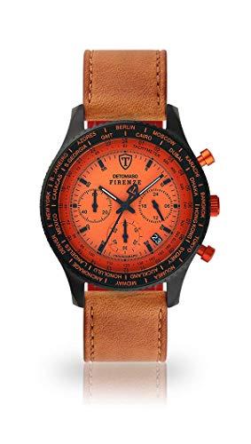 DETOMASO FIRENZE Uomo Orologio Cinturino in pelle marrone quarzo analogico quadrante arancione SL1624C-OR-821