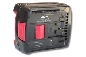 Batterie LI-ION 3000mAh 14.4V, noir, pour BOSCH GBH 14.4 V-LI etc. remplace 2607336078, 2607336149, 2607336150, 2607336224, 2607336318 etc.