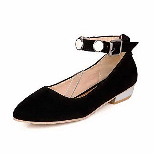 Voguezone009 Femmes Tissu Perle Boucle Chaussures Pointu Fermé Toe Bas Talon  Noir Pur Ballerines 9c22b55e522d
