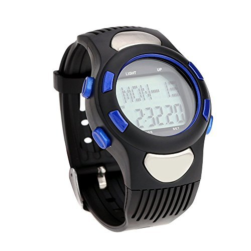 Pedometer - SODIAL (R) 3 ATM Heart Rate Monitor Pulse Watches Waterproof Sport Pulse Monitor Fitness Exercise Watch Stopwatch Pedometer calorie Outdoor Cycling Blue