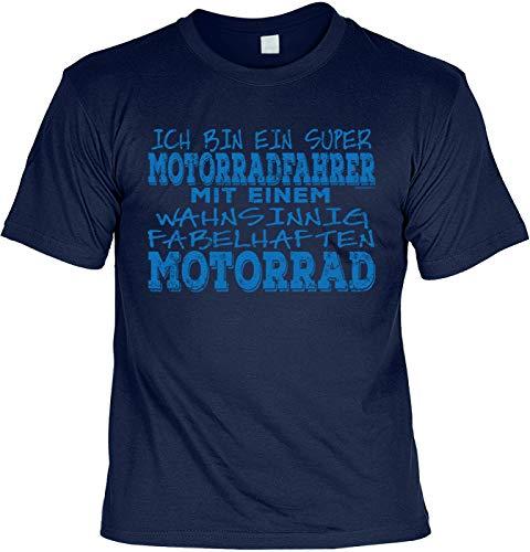since68 T-Shirt für Motorradfahrer, Biker Motivshirt - Ich Bin Ein super Motorradfahrer mit Einem wahnsinnig Fabelhaften Motorrad