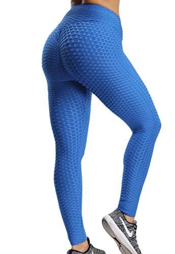 FITTOO Mallas Pantalones Deportivos Leggings Mujer Yoga de Alta Cintura Elásticos y Transpirables para Yoga Running Fitness con Gran Elásticos1090 Azul L