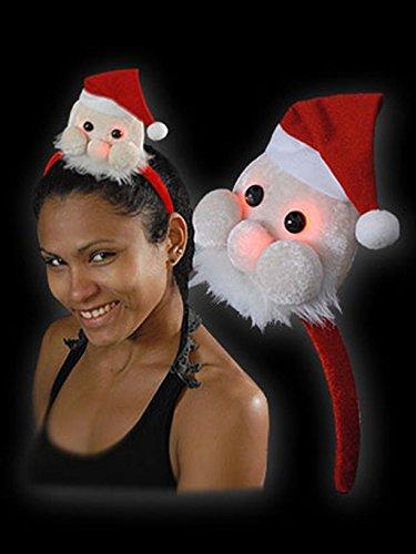 Blinkende Weihnachtsmütze Haarreif Mini Weihnachtsmann Batterien inkl.