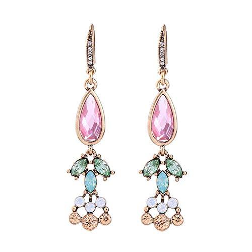 Diamant Ohrringe Kostüm Schmuck - Da.Wa Ohrringe Diamant Bunter Edelstein Earrings Ohrbügel Damen Kostüm Schmuck Legierung Rosa