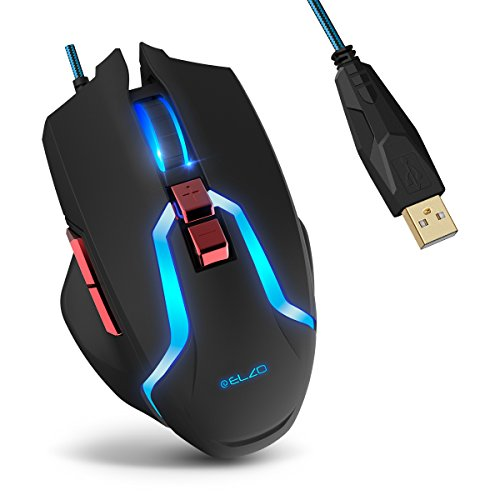 Gaming Maus , Elzo Kabelgebundene LED Optische Mäuse (7 Tasten, 1,8M USB-Kable, 5 Einstellbare DPI and LED Beleuchtung) für PC Laptop Computer Macbook (Hp-tastatur-treiber)