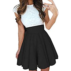 Ajpguot Verano Mujer Cuello Redondo Manga Corta Corto Vestido de Encaje Alinear Vestido de Drapeado Elegante Mini Vestidos de Fiesta Cóctel (L, Negro)