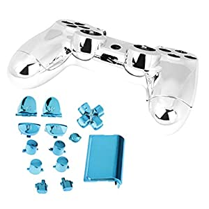 P Prettyia Controller Chrom Modding Kit Full Shell Kit Ersatz Schutzhülle Cover Case Set für PS4 Wireless