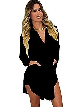 Mujer Solido De La Gasa Floja Blusa Manga Large Casual Camisetas Cuello En V