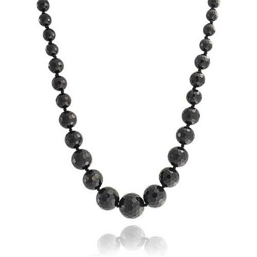 Bling Jewelry Schwarz Onyx Facettiert Graduierte Bead Strand Lange Halskette Für Damen Versilberte Schnalle 18 Zoll - Verknotet Schnalle