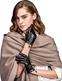 YISEVEN Damen Touchscreen Lammfell Lederhandschuhe mit Warm Gefüttert Elegant Winter Leder Autofahrer-Handschuhe, Schwarz Mittel/7.0