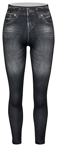 Piarini Damen Jeggings körperbetont | Winter Denim-Leggings Warmer Innenfleece | Treggings mit Skinny Schnitt | Schwarz L/XL - Fleece Leggings