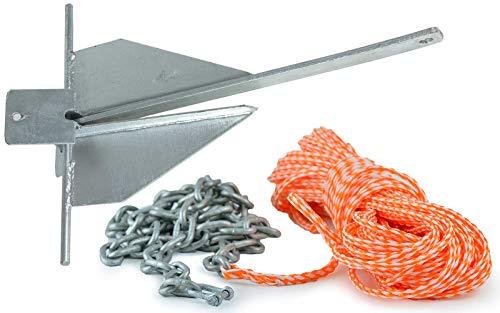 wellenshop Plattenanker Danforth Anker 4 kg Stahl Verzinkt + Ankerleine Kettenvorlauf Länge 30 m Ø 8 mm Bootsanker -