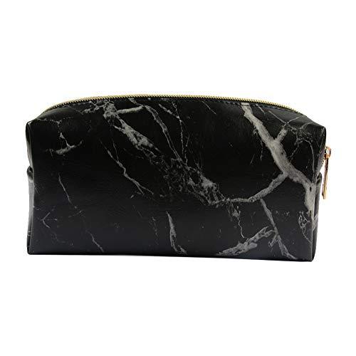 1 Stück Marmor Make-Up Tasche Tragbare Kosmetiktasche Reise Aufbewahrungsbeutel mit Gold Reißverschluss Bleistift Aufbewahrungskoffer für Frauen Make-Up Pinsel Halter-Schwarz Make Up Werkzeug -