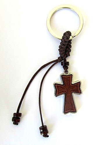 Zwei-seitige Christian-orthodoxe griechisch Religiöse Schlüsselanhänger mit Holz und Metall Kreuz/1