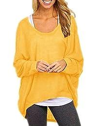 Flying Rabbit Damen Sexy Asymmetrisch Jumper Sweatshirt Pullover Bluse  Oberteile Tops T-shirt 52a89f0465