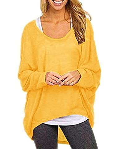 Flying Rabbit Damen Sexy Asymmetrisch Jumper Sweatshirt Pullover Bluse Oberteile Oversize Tops T-shirt (xl, Gelb)