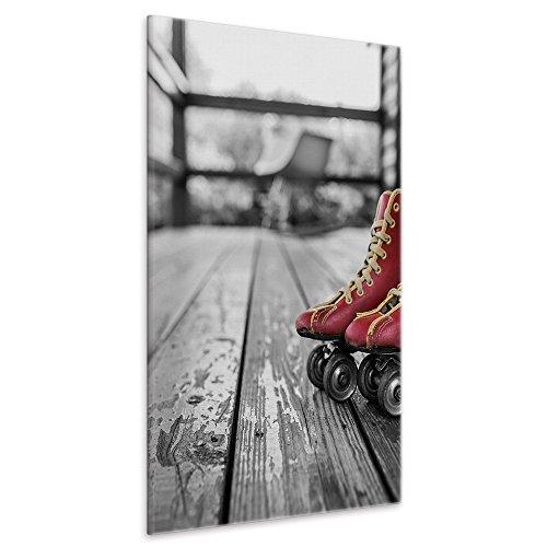 malango® Leinwandbild Rote Rollschuhe Kunstdruck Retro Vintage Fotoleinwand handgefertigt Bild Wanddekoration Roller Skates Foto Leinwand 60 x 90 cm