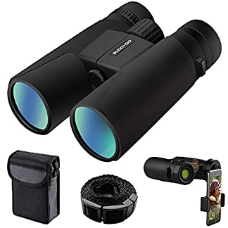 BUDDYGO 10x42 Binoculars for Adults, Compact HD Professional Waterproof and Fogproof Binoculars for Bird Watching Travel Stargazing Hunting Concerts Sports With Phone Mount Strap Carrying Bag