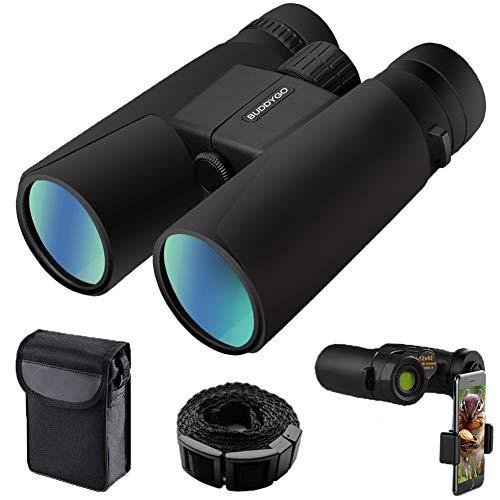 Prismáticos, BUDDYGO 10x42 Telescopios Binoculares Resistente al Agua Adecuados para Viajes al Aire libre, Observación de Aves, Caza, Incluye con Adaptador para Teléfono Inteligente, Correa y Mochila