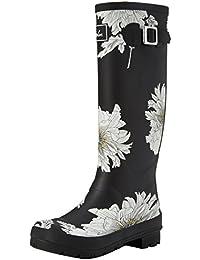 Joules Women's Wellyprint Wellington Boots, Black, Medium