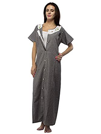 Trendy Comfortable Front Open Gown Button front Black Terry Cotton Loose Fit Maternity Nighty