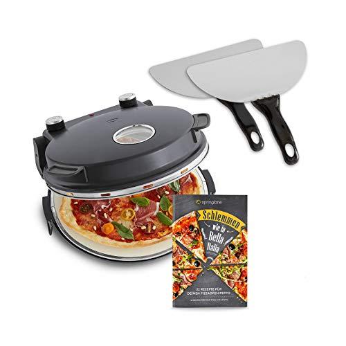 Pizzaofen Peppo 1200W, Pizzamaker, Minibackofen elektrisch für Pizza & Brot 350°C, Timer & Signallampe, inkl. Emaille-Bratpfanne & 2 großen Pizzawendern + Gratis Rezept (PDF) - anthrazit