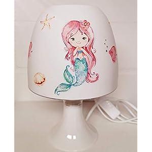 ✿Tischlampe ✿ Meerjungfrau Mermaid 3 Mädchen Schwanzflosse ✿ Schlummerlicht ✿ Nachttischlampe rothaarig türkis