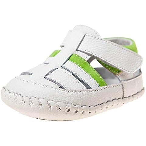 Little Blue Lamb–Zapatos para bebé unidad lernschuhe Sandalias 3515Blanco Verde