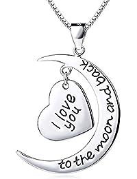 ROTY Gravure Collier Sautoir Avec Pendentif Femme 'Je t'aime à la folie' - Plaqué Argent - Chaîne Longueur De 45CM - Cadeau Pour Maman Fille Amour Pour Fête Des Mères, Anniversaire (Coeur Lune)
