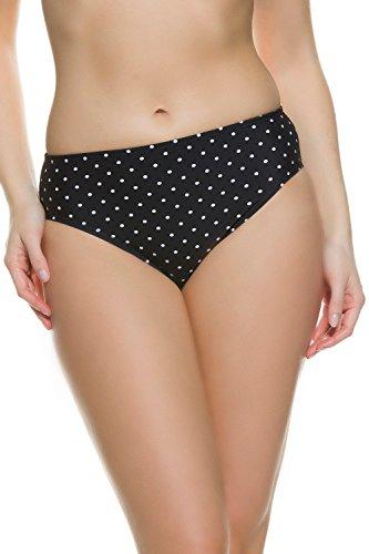 GINA_LAURA Damen | bis Größe 50 | Badehose |Bikini-Slip nur Unterteil | schwarz-weiß Tupfen | 174679 Schwarz