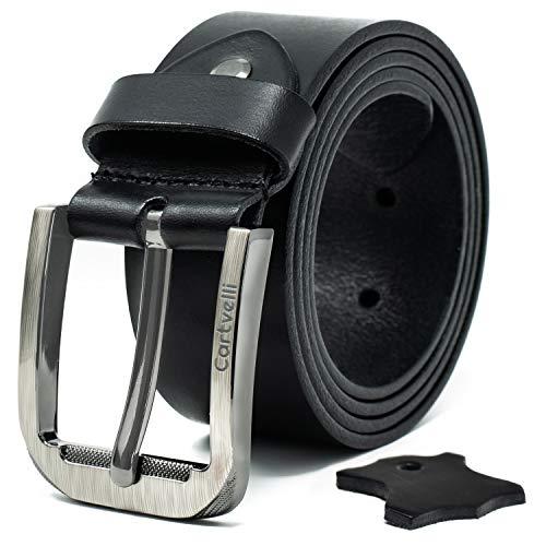 Premium Echt Ledergürtel Herren schwarz mit Geschenk Box Made in Germany Breite 3,8 cm 100% Rindsleder Leder Gürtel M19s - Bundweite 105 - Breite Gürtel