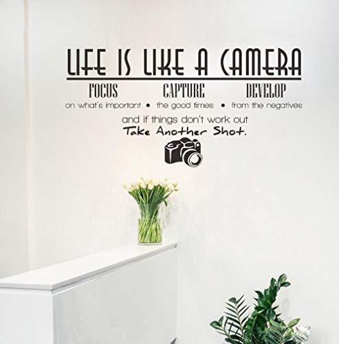 DAS LEBEN IST WIE EINE KAMERA Zitat Wandaufkleber Büro Inspirierende Worte Aufkleber Home Interior Decor Wohnzimmer Wandtattoos 83 * 43 cm - Eine Leben Das Kamera Wie Ist