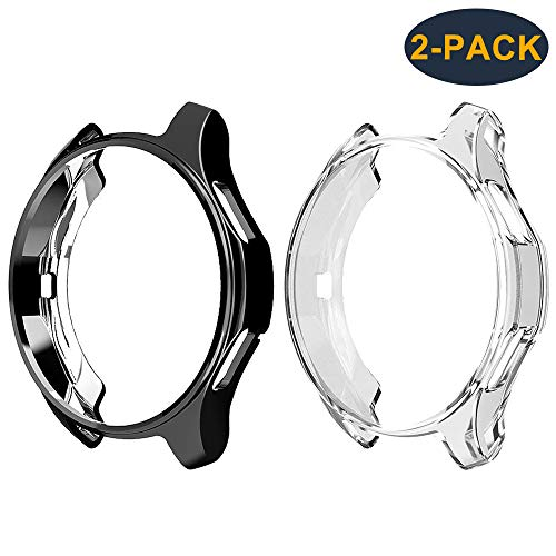 CAVN Schutzhülle für Samsung Galaxy Watch 46mm /Samsung Gear S3 [2-Stück], Soft TPU Kratzfest Schutzhülle Schale Hülle für Samsung Gear S3 Frontier/Classic/Galaxy Watch 46mm, Schwarz & Klar