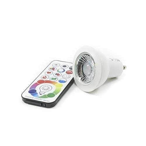Foco LED GU106W RGBW Lámpara cromoterapia mando luz multicolor