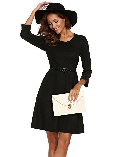 Parabler Damen 3/4 Arm Business Kleid Elegant A-Linie Kleid Partykleid mit Gürtel Schwarz